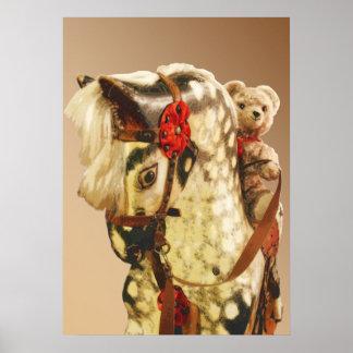 Old Toys: teddy bear on a rocking horse Print