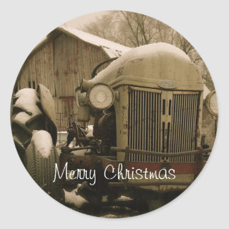 Old Tractor in Snow Christmas Envelope Seal Round Sticker