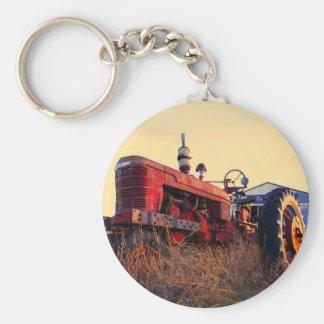 old tractor red machine vintage basic round button keychain