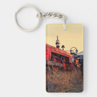old tractor red machine vintage Double-Sided rectangular acrylic keychain