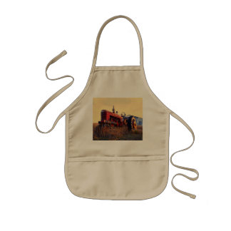 old tractor red machine vintage kids apron