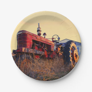 old tractor red machine vintage paper plate