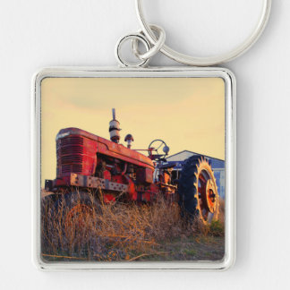 old tractor red machine vintage Silver-Colored square keychain