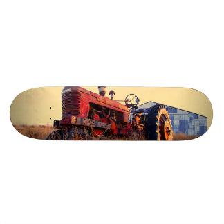 old tractor red machine vintage skate boards