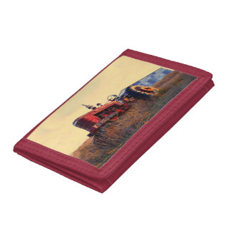 old tractor red machine vintage tri-fold wallets