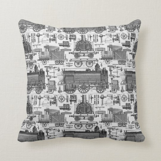 Old Trains - Vintage Locomotive Illustration Throw Pillow