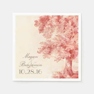 Old tree blush colors wedding paper napkins