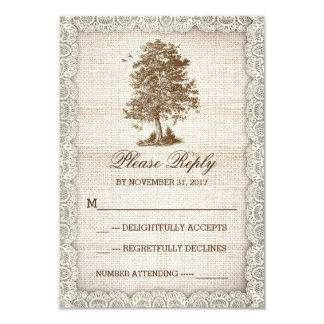 "old tree rustic country wedding RSVP 3.5"" X 5"" Invitation Card"