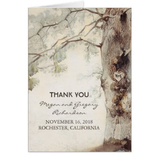Old Tree Rustic Wedding Thank You Card