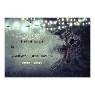 old tree string lights rustic wedding RSVP cards Invite
