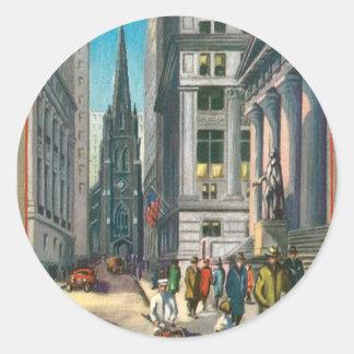 Old Trinity & Wall Street, New York Round Sticker