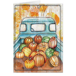 Old Truck Full of Pumpkins Notecard