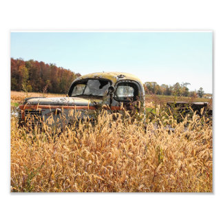 Old Truck in Autumn Farm Field Photo Print