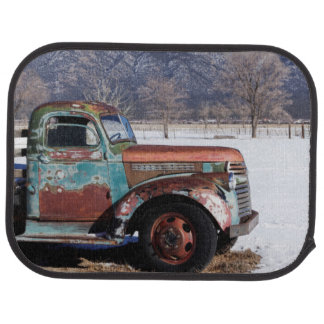Old truck sitting in the field car floor carpet