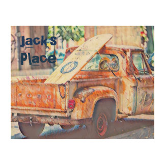 Old Truck with Surfboard Wood Wall Decor