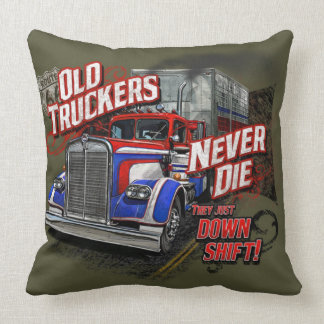 Old Trucker Never Die Throw Pillow