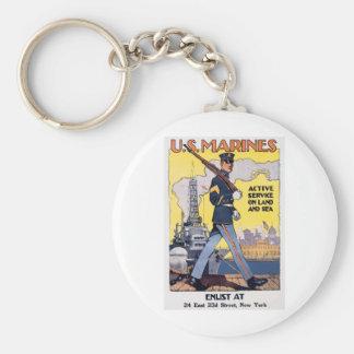 Old U.S. Marines Poster circa 1918 Basic Round Button Keychain