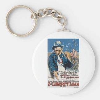 "Old ""Uncle Sam"" U.S. War Poster circa 1917 Keychains"