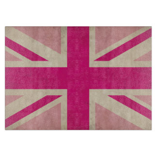 Old Union Jack Flag Glass Cutting Board