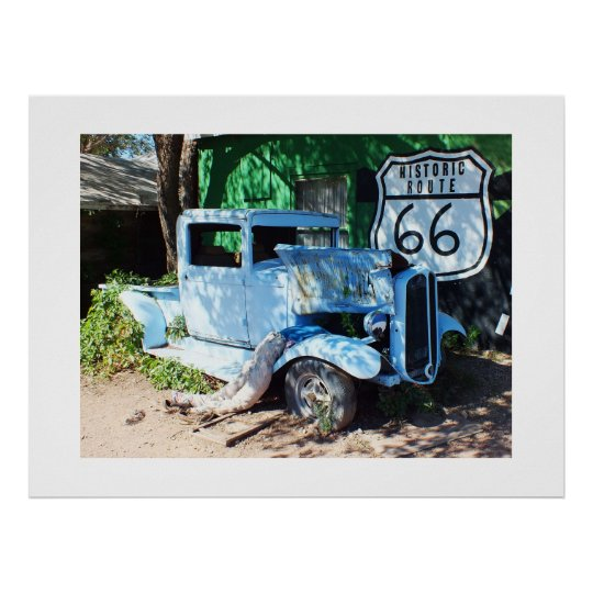 Old vehicle Route 66 Poster