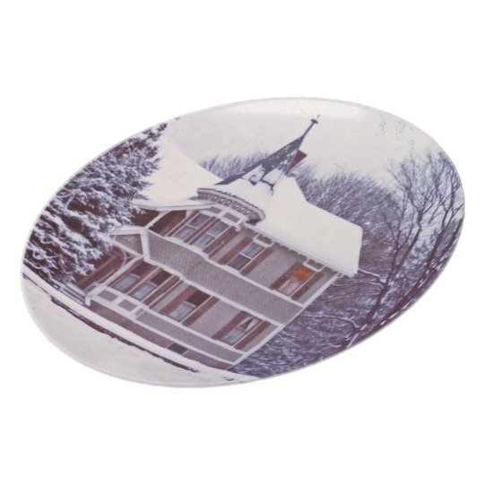 Old Victorian House at Christmas Plate