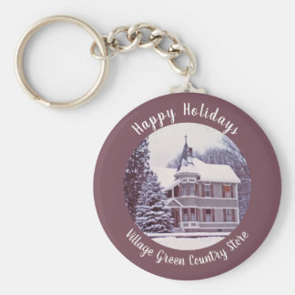 Old Victorian House - Home for the Holidays Keychain