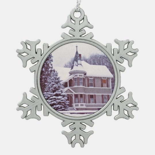 Old Victorian House Pewter Snowflake Ornament