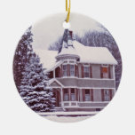 Old Victorian House with Customizable Text on Back Ornaments