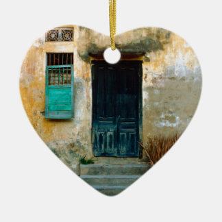 Old Vietnamese embankment Ceramic Heart Ornament