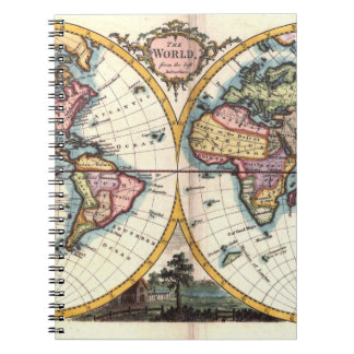 Old Vintage Antique world map illustration drawing Notebooks
