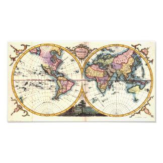 Old Vintage Antique world map illustration drawing Photo Print