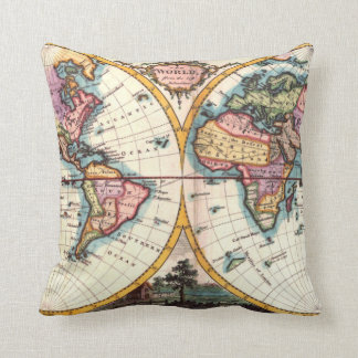 Old Vintage Antique world map illustration drawing Throw Pillow