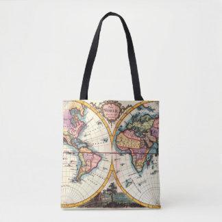 Old Vintage Antique world map illustration drawing Tote Bag