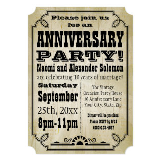 Old Vintage Country Anniversary Party Invitation