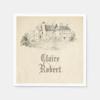 Old Vintage Fairy Tale Castle Wedding Paper Napkins