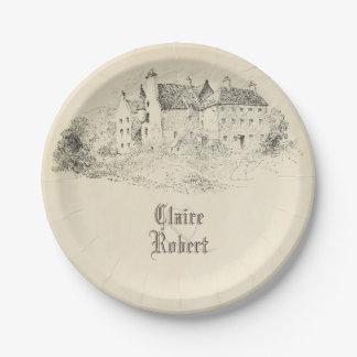 Old Vintage Fairytale Castle Wedding 7 Inch Paper Plate