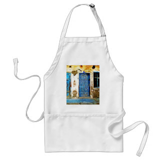 Old Vintage Greece Blue Door Boho Style Standard Apron