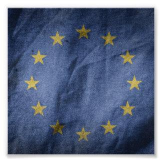 Old Vintage Grunge European Union Flag Photo Print