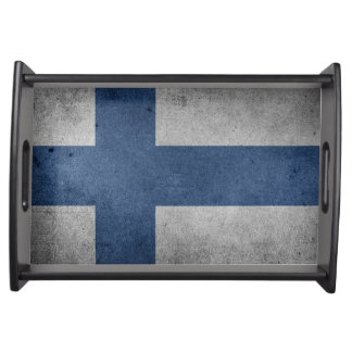 Old Vintage Grunge Finland Flag Serving Tray