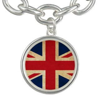 Old Vintage Grunge United Kingdom Flag Union Jack Charm Bracelets