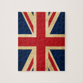 Old Vintage Grunge United Kingdom Flag Union Jack Jigsaw Puzzle