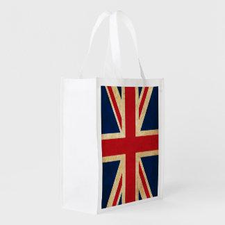 Old Vintage Grunge United Kingdom Flag Union Jack Reusable Grocery Bag