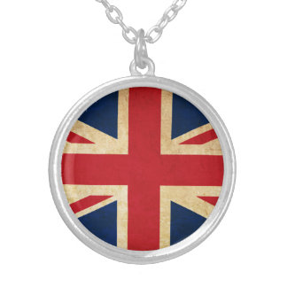 Old Vintage Grunge United Kingdom Flag Union Jack Silver Plated Necklace