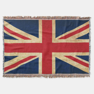 Old Vintage Grunge United Kingdom Flag Union Jack Throw Blanket