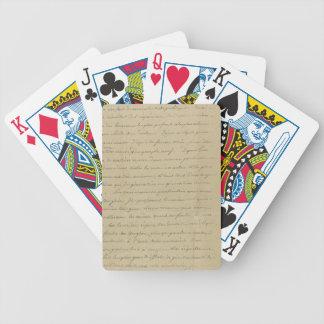 old vintage handwriting bicycle poker cards