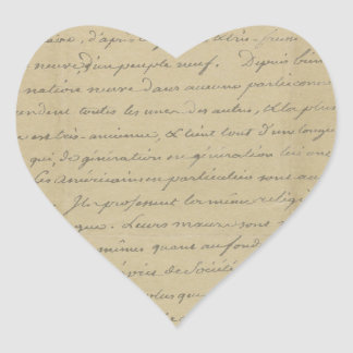 old vintage handwriting heart stickers