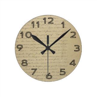 old vintage handwriting wall clock