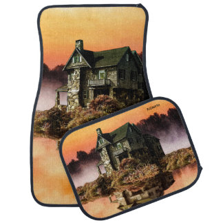 Old Vintage House On Misty Lake At Dusk Car Mat