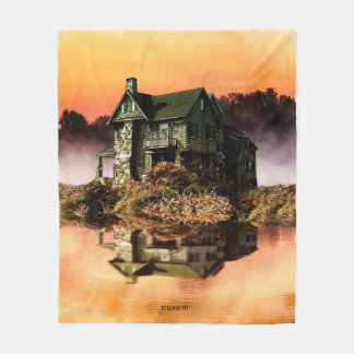 Old Vintage House On Misty Lake At Dusk Fleece Blanket
