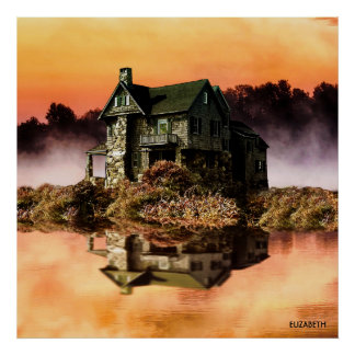 Old Vintage House On Misty Lake At Dusk Poster